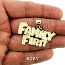 10KT Yellow Gold Men's Custom FAMILY FIRST Pendant, Diamond Cut, Brand New, 10KT