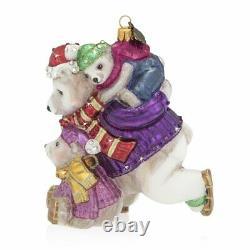 Jay Strongwater Mother & Baby Skating Polar Bears Ornament #sdh2280250 Brand Nib