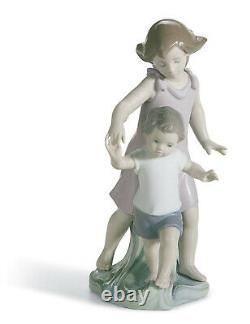 Lladro Let Me Help You #8214 Brand Nib Brother And Sister Cute Family Save$ F/sh
