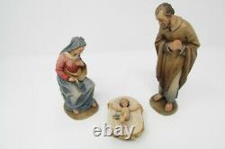 Prof. Karl Kuolt 6 Holy Family ANRI Nativity, Amazing Woodcarvings Brand New