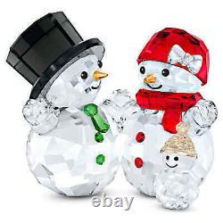 Swarovski Crystal Snowman Family Figurine #5533948 Brand Nib Christmas Save$ F/s